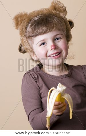 Little girl in monkey disguise