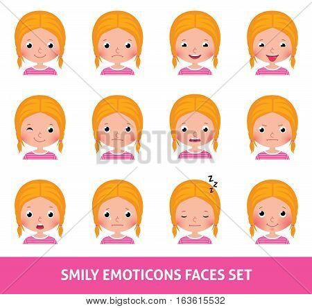 Girl child cute emoji set smily emoticons faces vector illustration