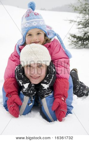 Mother and daughter on winter vacation