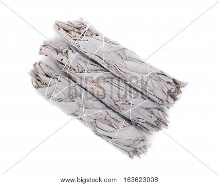 Sage smudge stick isolated on white background