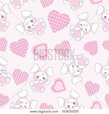 Seamless background of Valentine's day illustration with cute pink bunny with love shape on pink background suitable for Valentine's scrap paper, wrapping paper, and wallpaper