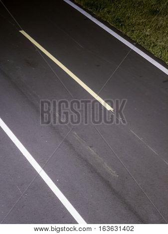 Cycling or jogging lane at park at night