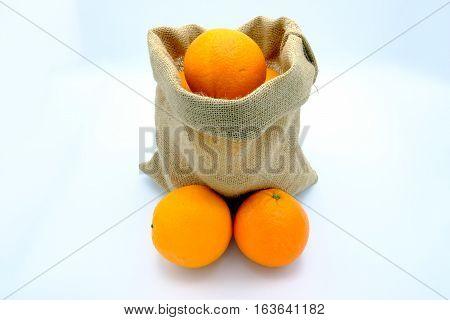 Authentic fresh oranges sac of Valencia Spain