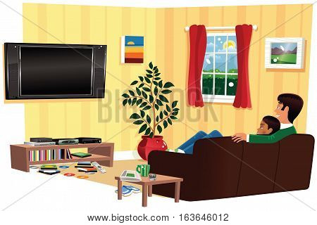 A cutaway image of a couple relaxing on their sofa while watching TV. Blank screen for your own message.