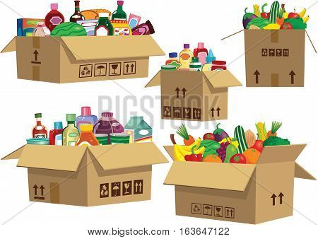 Various cardboard boxes with food produce in them.