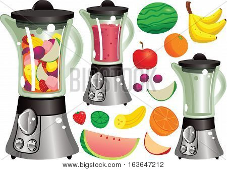 A typical electric blender machine. Blender is shown as empty, pre-blended and blended.