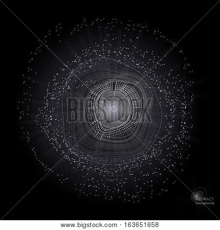 Monochrome black and white graphic digital object: burst, circles, flying particles, chaos. Vector illustration EPS10