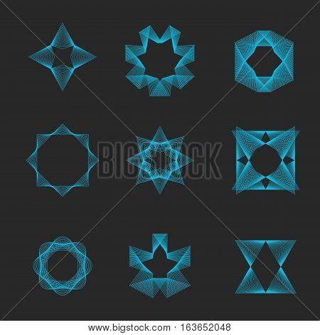 Sacred Geometry Set Logo, Magic Esoteric Shape Monogram, Collection Mystic Illusion Emblem