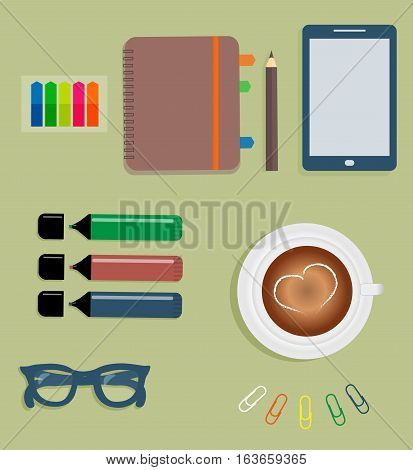 Stationery: Maroon day planner spiral-bound with color tabs.  Stiсkers. Markers. Dark blue glasses. Pencil. Clips. Mobile phone. Smartphone. A cup of coffee with a heart. Vector illustration.