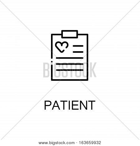 Patietn flat icon. High quality outline symbol of medical euipment for web design or mobile app. Thin line signs of card for design logo, visit card, etc. Outline pictogram of patient card