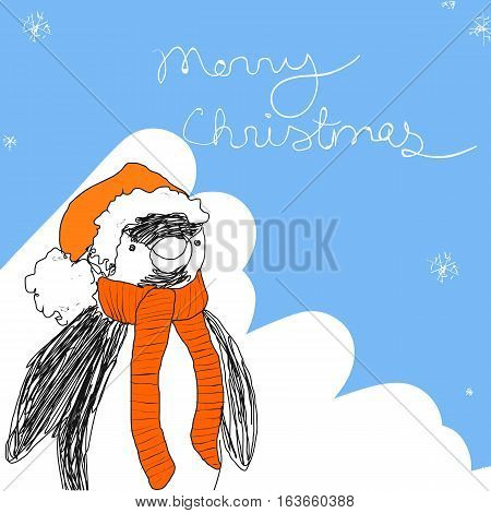 Cute pengiun in red hat and scarf. Christmas vector greeting illustration.