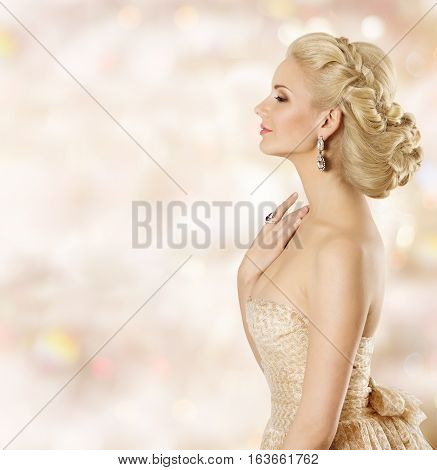 Woman Hairstyle Fashion Model Face Beauty Girl with Blond Hair Style and Jewelry Smelling perfume eyes closed