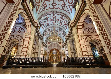 LIMA PERU - August 23 2016: Interior of Saint Francis Monastery in Lima Peru on August 23 2016. The church and convent are part of the Historic Centre of Lima.