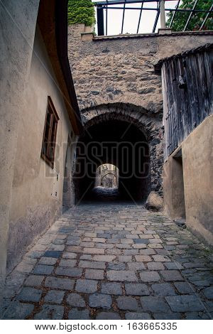 Alleyway and cobblestone street in Austria Europe
