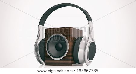 3D Rendering Headphones And Audio Speaker Box On White Background
