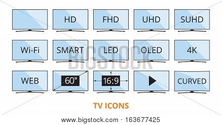 Modern TV icons in flat style with some technical parameters on blue color screens. LED smart television set symbols isolated on white background. Vector eps8 illustration.
