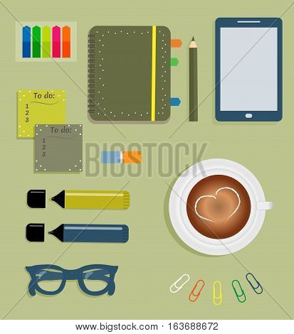 Stationery: Blue day planner spiral-bound with cute polka dots and tabs.Stiсkers. Markers Dark blue glasses.Pencil. Clips. Mobile phone. Smartphone. A cup of coffee with a heart. Vector illustration.
