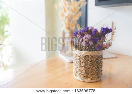 Dried flower in vase Bouquet of dried flowers in vase. Dried flower for interior decoration. Interior object(vintage effect, selective focus)