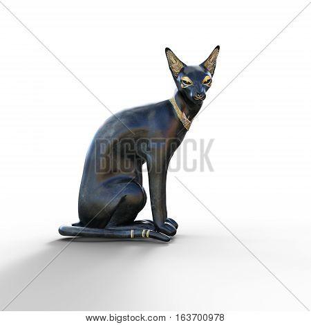 Egyptian cat goddess Bastet black figurine 3d render