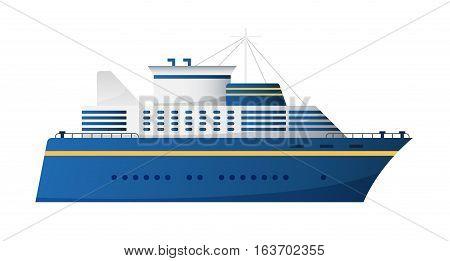 Vector seaway and ocean water transport passenger ship transatlantic cruise liner trendy flat design, side view. cruise liner vector