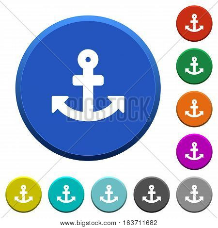 Anchor round color beveled buttons with smooth surfaces and flat white icons