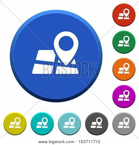 Map location round color beveled buttons with smooth surfaces and flat white icons