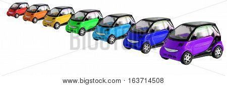 Rainbow painted cars isolated on white background