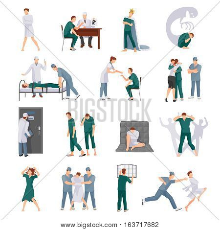 Mental illnesses icons set with mad people and medical staff in various situations isolated vector illustration
