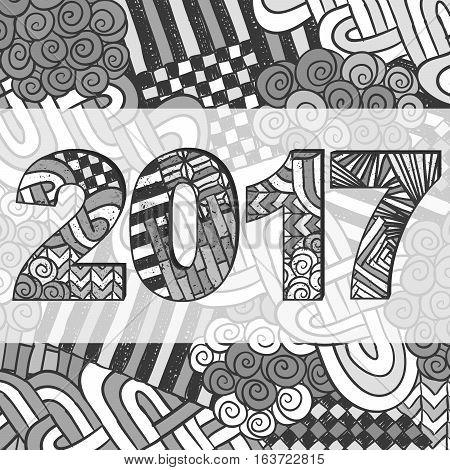 New Year 2017 Zentangle Holiday Background Grey