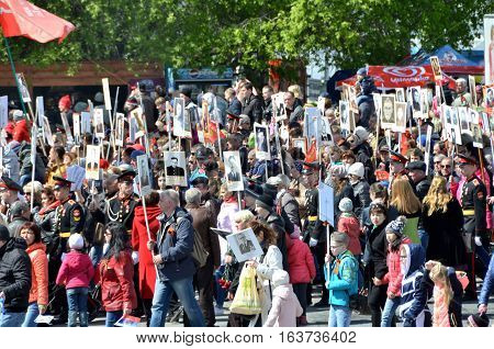 Omsk Russia - May 9: People rally in honor of those killed in the war 1941-1945