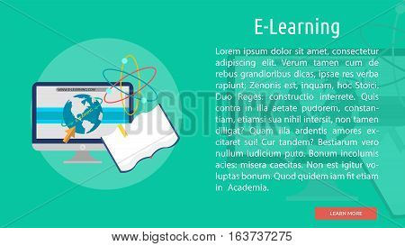 E-Learning Conceptual Banner | Great flat icons with style long shadow icon and use for teacher, education, science, analysis, knowledge, learning, event and much more.