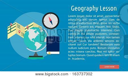 Geography Lesson Conceptual Banner | Great flat icons with style long shadow icon and use for teacher, education, science, analysis, knowledge, learning, event and much more.