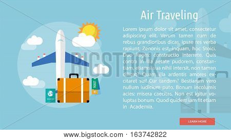 Air Traveling Conceptual Banner | Great flat icons design illustration concepts for holiday, recreations, traveling, banner and much more.