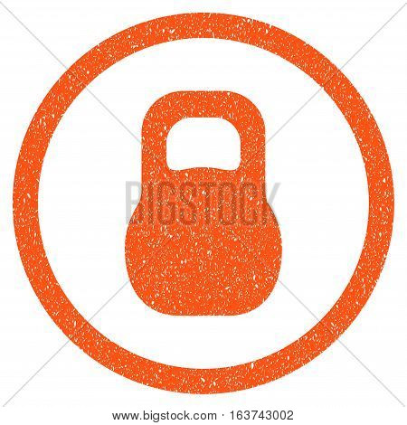 Weight grainy textured icon for overlay watermark stamps. Flat symbol with scratched texture. Dotted vector orange ink rubber seal stamp with grunge design on a white background.
