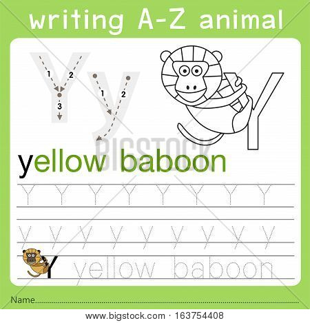 Illustrator of writing a-z animal y for kid