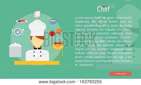 Chef Conceptual Banner | Great flat icons design illustration concepts for business, industry, people, banner and much more.