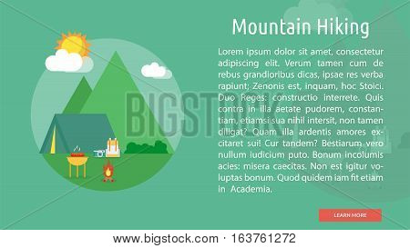 Mountain Hiking Conceptual Banner | Great flat icons design illustration concepts for holiday, recreations, traveling, banner and much more.