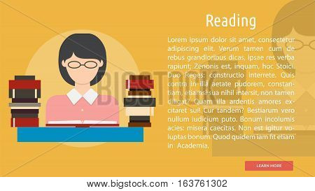 Reading Conceptual Banner | Great flat icons design illustration concepts for learning, knowledge, education, banner and much more.