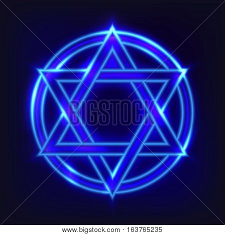 The shining hexagram. The ancient symbol in neon style concluded in a circle. Concept of the universe and spiritual life. Esoteric signs of evolution of the person.vektornaya illustration.