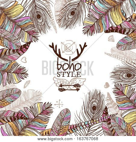 Hand drawn feathers poster with colorful bird plumes in boho style on white background vector illustration