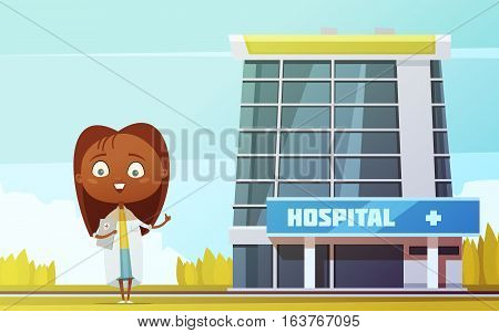 Cute female doctor slim abstract figurine at city hospital building background flat cartoon  vector llustration