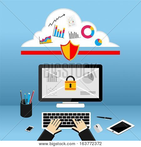 Internet protection or limited access. Secure computer access concept.