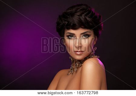 Beauty Woman With Beautiful Make-up Color