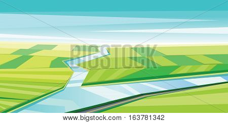 Digital vector abstract background with river and green fields, flat triangle style