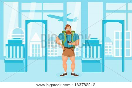 Young Bearded Hipster male in eyeglasses with a packsack travel and camera. Travelling with the knapsack. Background of airport interiors. Travel Concept. Vector Illustration eps 10 in flat style