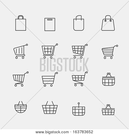 Vector store bags signs or lined shopping basket modern web icons. Cart basket fo retail shop, shopping of linear trolley illustration