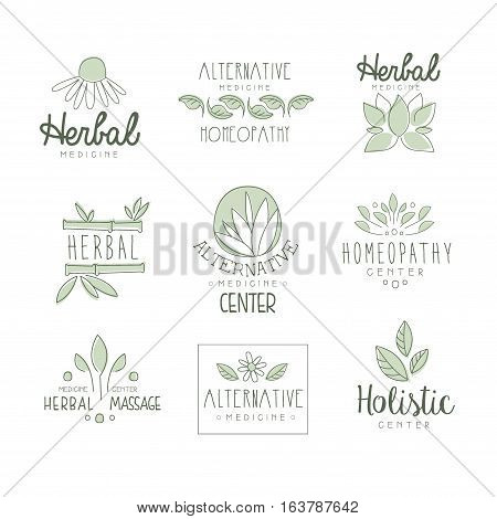 Alternative Medicine Center With Oriental Herbal Treatment And Holistic Massage Procedures Set OF Label Templates. Monochrome Vector Logo Designs For Natural Medical Care Studio.