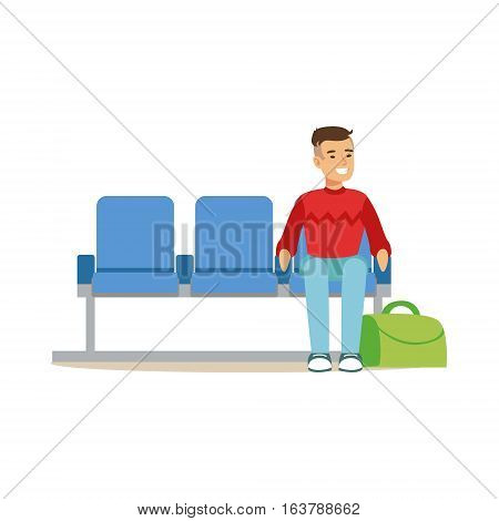 Man Sitting In Waiting Area, Part Of Airport And Air Travel Related Scenes Series Of Vector Illustrations. Smiling Cartoon Character In The Airport Building Travelling By Plane.