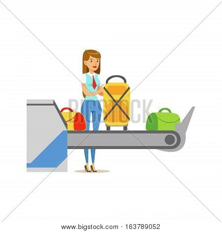 Woman Checking Scanned Luggage On Security Checkup Feed Belt, Part Of Airport And Air Travel Related Scenes Series Of Vector Illustrations. Smiling Cartoon Character Airport Professional Employee.