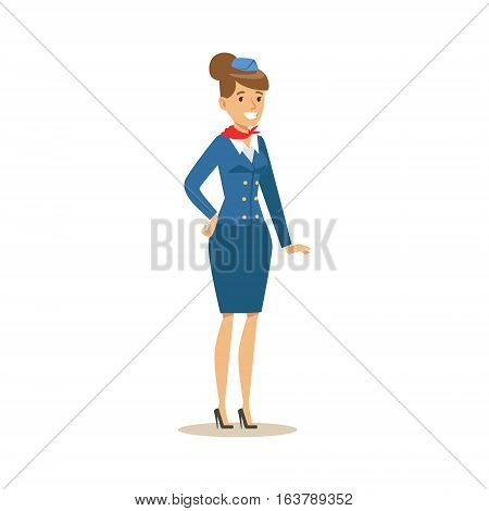 Stewadess In Blue Uniform, Part Of Airport And Air Travel Related Scenes Series Of Vector Illustrations. Smiling Cartoon Character Airport Professional Employee.